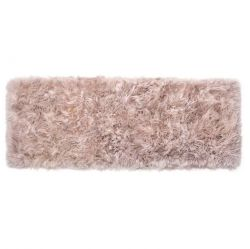 Langer Schafwollteppich | Hellbraun