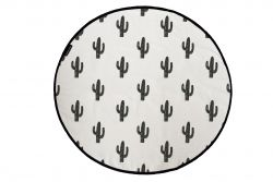 Canvas Rug Black Cactus