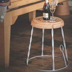 Side Table Giant Champagne Cork | Silver Wire
