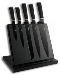 Magnetic Knife Block Black | With 5 Knives