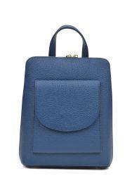 Leder-Rucksack mit Tasche | Blau