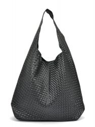 Leder Shopper Bag | Schwarz