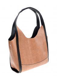 Lederhandtasche mit Schlangenabdruck | Cognac