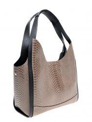 Lederhandtasche mit Schlangenabdruck | Hellbraun