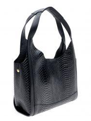 Lederhandtasche mit Schlangenabdruck | Schwarz