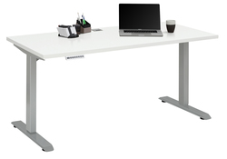 Verstellbarer Computertisch   Platingrau Metall und Weiß Matt