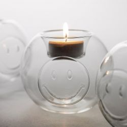 Tealight Round Smiley | Glass