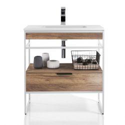 Badezimmerschrank Loom-A 80 | Weiß & Helles Holz