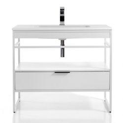 Badezimmerschrank Loom-A 100 | Weiß & Helles Holz
