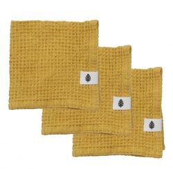 Set of 3 Wash Cloth Waffly 35 cm | Ochre