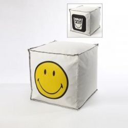 Pouf Smiley 40 x 40 x 40 cm | Yellow & White