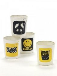 Tealight Smiley | Set of 4 | Yellow & Black