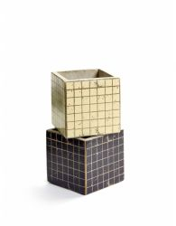 Set of 2 Plant Pot Marie Mosaic 11 cm | Black & White