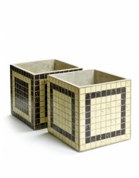 Set of 2 Plant Pot Marie Mosaic Square 17 cm | Black & White