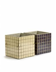 Set of 2 Plant Pot Marie Mosaic 22 cm | Black & White