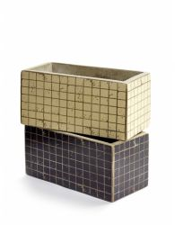 Set of 2 Plant Pot Marie Mosaic 23 cm H 11 cm  | Black & White