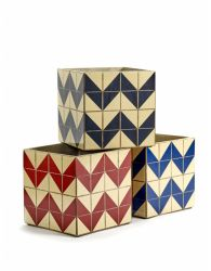 Set of 3 Plant Pot Marie Zig Zag 22 cm | Multicolour