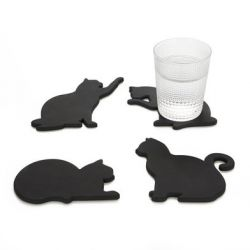 Coasters Cat Set of 4 | Black