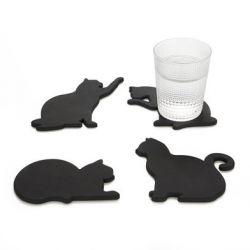 Untersetzer Cat 4er Set | Schwarz