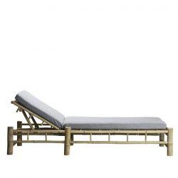 Bambus Sonnenbett mit Matratze | Grau