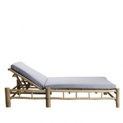 Bamboo Double Sunbed with Mattress | Grey