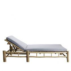 Bambus Doppelte Sonnenbett mit Matratze | Grau