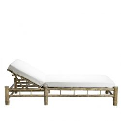 Bamboo Double Sunbed with Mattress | White