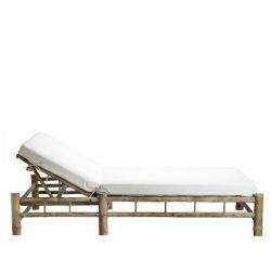 Bambus Doppelte Sonnenbett mit Matratze | Weiß