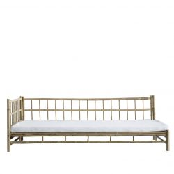 Bamboo Lounge Bed with Mattress Right | White
