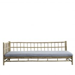 Bamboo Lounge Bed with Mattress Right | Grey