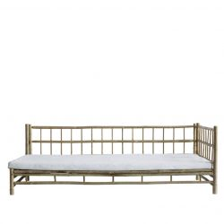 Bamboo Lounge Bed with Mattress Left | White