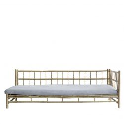 Bamboo Lounge Bed with Mattress Left | Grey