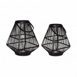 Set of 2 Bamboo Lanterns | Black