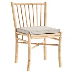 Bamboo Dining Chair with Cushion | Grey