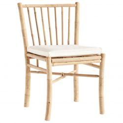 Bambus Esstisch Stuhl mit Kissen | Weiß