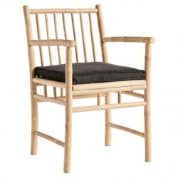 Bamboo Dining Chair with Armrest & Cushion | Phantom