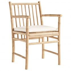 Bamboo Dining Chair with Armrest & Cushion | White