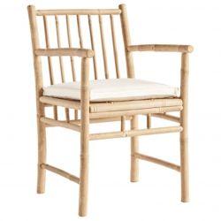 Bambus Esstisch Stuhl mit Kissen und Armlehne | Weiß