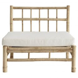Bamboo Lounge Module with Cushion | White