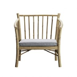 Bamboo Lounge Chair with Cushion | Grey
