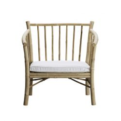 Bamboo Lounge Chair with Cushion | White