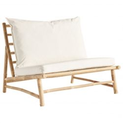 Bamboo Lounge Chair with Cushions | White