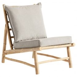 Bamboo Chair with Cushions | Grey