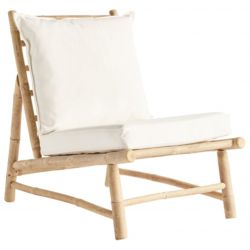 Bamboo Chair with Cushions | White