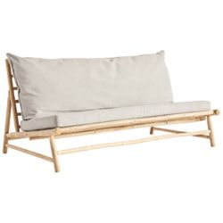 Bamboo Lounge Couch with Cushions | Grey