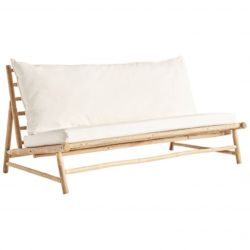 Bamboo Lounge Couch with Cushions | White