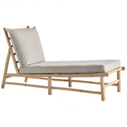 Bamboo Chaise Long with Mattress | Grey