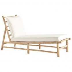 Bamboo Chaise Long with Mattress | White