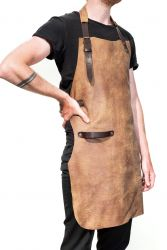 Leather BBQ Apron Baltimore | Saddle Brown