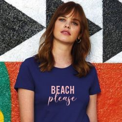 ♀ T-shirt Beach Please | Bleu